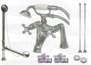 Chrome Deck Mount Clawfoot Tub Faucet Kit  With Drain - Supplies - Stops CCK268C