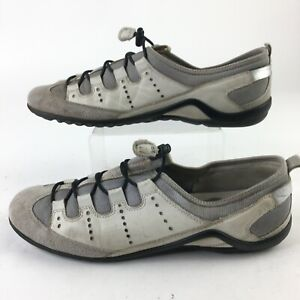 Ecco Mens 42 Bluma Speed Bungee Lace Slip On Low Top Shoes Sneakers White Grey