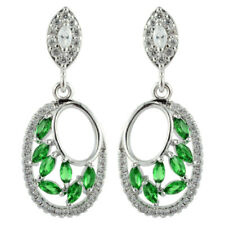 Cut Drop Zirconia Green Emerald Earrings Lady Gift 18K White Gold Gp Marquise