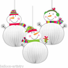 3 Cheery NATALE 20,3 cm Paper Ball SnowMen 3D PARTY DECORAZIONI da appendere