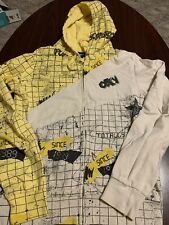 Vintage OBEY Full Zip Yellow Spell Out Hoodie Mens Jacket Large FITS SMALL