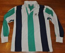 VTG 80s 90s Adidas Striped Rugby Soccer Long Sleeve Shirt Mens Medium M
