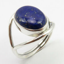 Fashion Jewelry Real Oval LAPIS LAZULI Ring Sz 7.25 925 Solid Silver