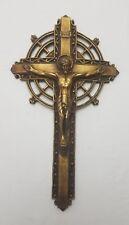Ornate Stunning Gold Carved Crucifix Wooden Amazing Catholic Christian Old