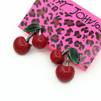 Women's Green Enamel Red Resin Cherry Ear Stud Betsey Johnson Earrings Gift