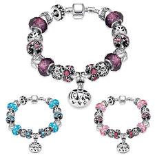European Silver Plated Vintage Rhinestone Charms Bracelet Diamante Beads Bangle