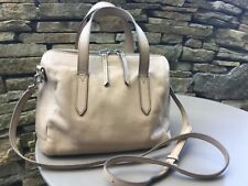 FOSSIL - REAL LEATHER  SYDNEY SATCHEL ( OLDER VERSION ) CHROME METALWARE