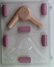 HAIR DRYER AND ROLLERS CLEAR PLASTIC CHOCOLATE CANDY MOLD  AO011