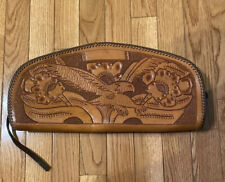 Hand Tooled Leather Clutch Purse Eagle Motif Gorgeous Excellent Cond.