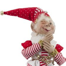"""Christmas Elf Jester Red White Posable 18"""" Winking Doll Holiday Decor"""