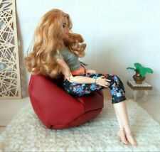 Miniature beanbag chair, dollhouse furniture 1:6 scale Barbie Blythe BJD doll