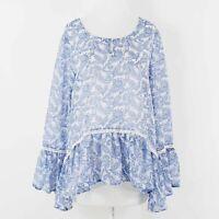 Stitch & Lace Sz S Blue White Sheer Hi Lo Ruffle Sleeve Peplum All Poly Top 265B