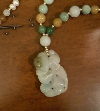 SALE!! JADEITE BAT COIN PENDANT SEED PEARLS, JADE & 14K GOLD FILLED BEADS