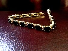 SAPPHIRE GEM BRACELET WITH CREATED DIAMONDS in Yellow Gold Finishing Gorgeous
