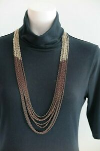 CHICO'S Brown & Antique Goldtone Multi-Strand Long Chain Necklace