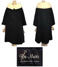 Vintage De Mars Black Brocade Swing Coat With White Mink Collar 12