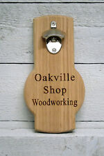 Personalized custom engraved wall mounted oak beer bottle opener. Great gift.