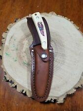 SCHRADE 518SC HUNTING KNIFE Scrimshaw w/  SHEATH Gut Hook Eagle Flag