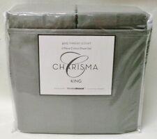 6pc King Sheet Set 400Tc Neutral Gray Dp Charisma 100% Cotton Wrinkle Shield