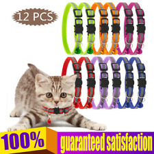 12 Pcs Reflective Lovely Pet Safety Cat Kitty Breakaway Cat Collars With Bell