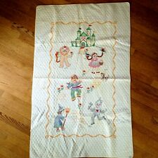 Antique Wizard of Oz Cross Stitch Baby Quilt Crib Blanket Bucilla Handmade 1929