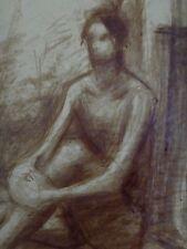 Grande peinture femme BAHRAM nu 1981 nude woman painting 58x40cm (2)