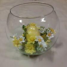 Vintage Glass Globe With Flowers And Candle Centerpiece