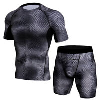 Men's 3D Printed Compression Fitness T-shirt Shorts Set Sports Running Tracksuit