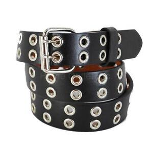 Kids Double Grommet Holes Leather Belt 2-Row Studded Snap-On Solid Plain Unisex