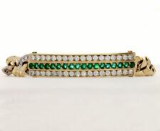 Evvs diamond emerald Figaro bracelet 18K 2tone round brilliant 4.15C unisex 58+G