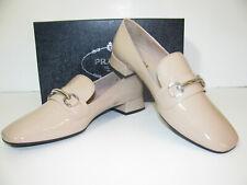 PRADA Logo Beige Lackleder Loafer Slipper Halbschuhe Patent Leather Schoes Gr.41
