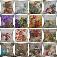 Christmas Ball Cotton Linen Sofa Waist Cushion Cover Pillow Case Home Decor