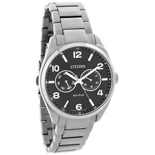 Citizen Eco-Drive Mens Black Day Date Dial Stainless Steel Watch AO9020-84E
