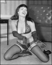 Bettie Page Posing in Lace panties, stockings and gloves   5 x 7 Photograph