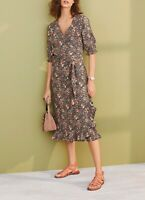 NEXT Black Floral Print Linen Blend Midi Wrap Dress Size 18 BNWT RRP £35 Holiday