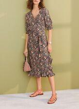 NEXT Black Floral Print Linen Blend Midi Wrap Dress Size 20 BNWT RRP £35 Summer