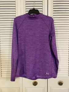 Under Armour Cold Gear Long Sleeve Shirt Womens XL Purple Fitted Mock Neck