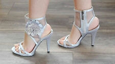 Womens Stiletto Party Wedding High Heel Mesh Slingbacks Flower Zip Sandals Size