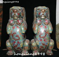 "17"" Old China Cloisonne Enamel Dog Dogs Hound Animal Phoenix Birds Statue Pair"