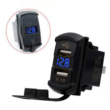 Car Marine LED Voltmeter Dual USB Charger Power Plug Socket Rocker Switch Pro#
