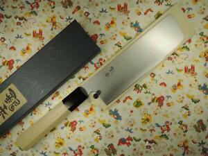 Ashi Hamono Ginga White Steel Nakiri Japanese Knife 180mm with Saya