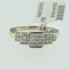 Estate Womens 14k White Gold Genuine Diamond Ladys Wedding Band Cocktail Ring