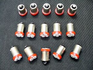 15 BRIGHT Red LED Instrument Panel Dashboard BA9S 53 1895 1815 Light Bulbs Chevy