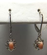 Nagelneu Sterling Silber Original rosa Koralle & Diamant Hebel zurück