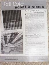 Vtg Felt-Cote Asbestos Metal Roofs/Siding Sheet Catalog
