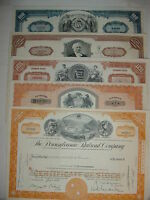 Lot of 5 Different Railroad Stock Certificates Pennsylvania Erie Monopoly RR