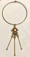 VTG SIGNED Mid Century Modern Brass Copper Artisan Handmade Choker Necklace 1977
