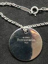 "Tiffany & Co Sterling Silver Round Coin Edge Disc Pendant 19""  Necklace . Rare."