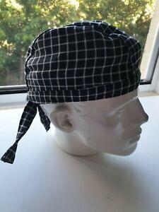 Durag ' BLACK'  Durag/Helmet liner.Bandana-Head Wrap Chef headwraps. T/C