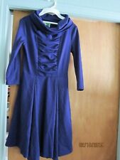 Fervour Dark blue Dress Vintage size M large roll neck covering gathered front